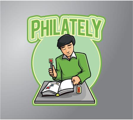 philately: Philately collector Illustration design badge