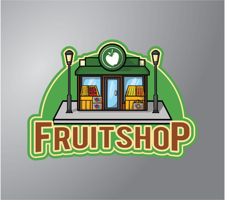 store keeper: Fruit Shop Illustration design badge Illustration