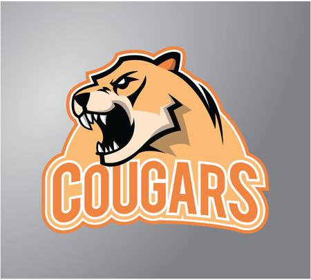 mountain lions: Cougar head illustration