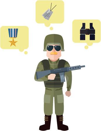 creative force: Army flat cartoon illustratoon Illustration