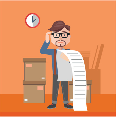empresarios: hombre de negocios confundido factura color plano ilustración de dibujos animados Vectores