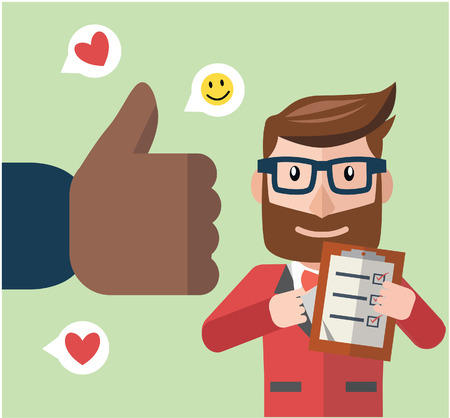 get up: Business man get thumb up color cartoon illustration
