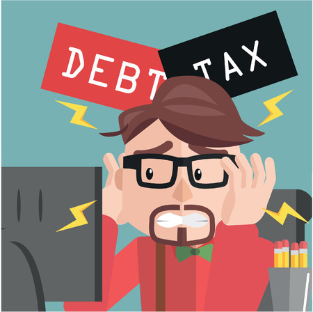 Business man depressed debt and tax Vectores