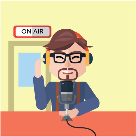 man in air: broadcaster man on air flat color cartoon illustration