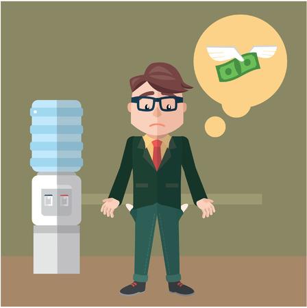 Business man bankrupt flat color