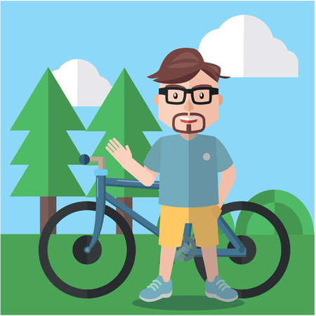 cycle suit: Businessman riding bike flat design Illustration