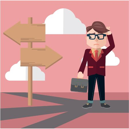 confusing: Business man confusing way Illustration