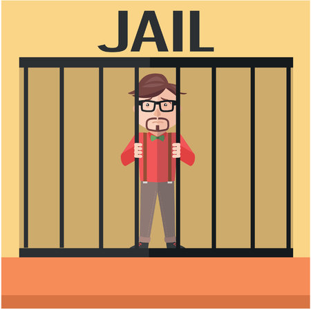 Businessman jail flat color cartoon illustration