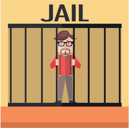 Businessman jail flat color cartoon illustration