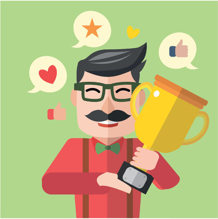 achieving: Man achieving medal flat design Illustration