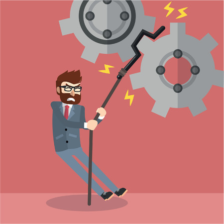 fixing: Business man fixing the cogs