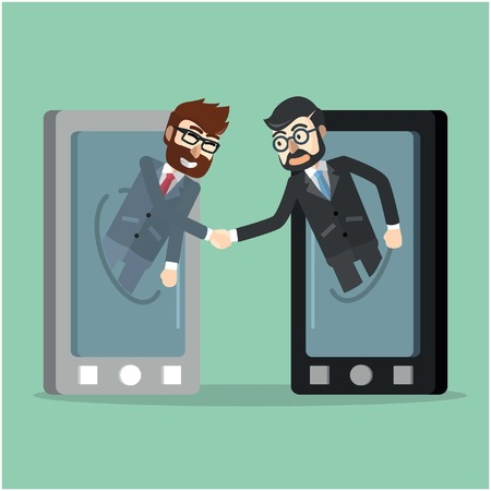 business deal: Business deal from cell phone Illustration
