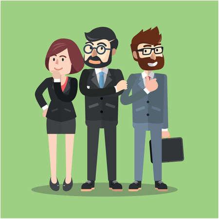 business group: Business group flat cartoon illustration
