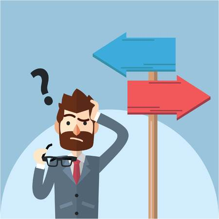 Business man confusing choosing path Vectores