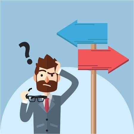 Business man confusing choosing path Vettoriali