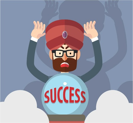 fortune teller: Business man success fortune teller Illustration