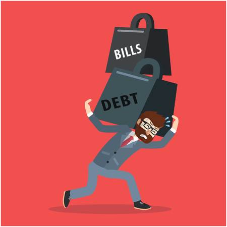 Biznes długu mężczyzna i rachunki waga