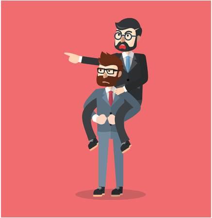 piggyback: Business man piggy back Illustration