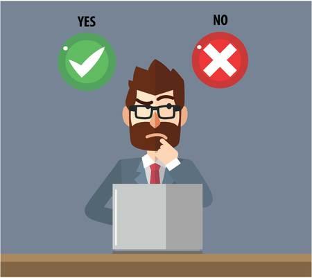 Business man confused choosing option Illustration