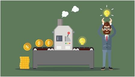 making money: Business man making money Illustration