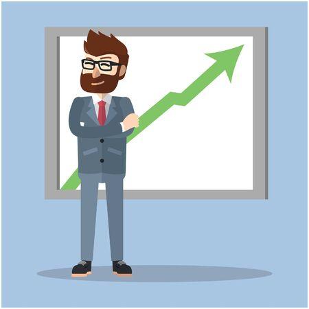 zakenman pijl omhoog statistiek Stock Illustratie
