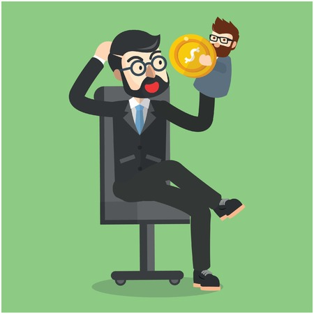 general manager: Business man playing with puppet Illustration
