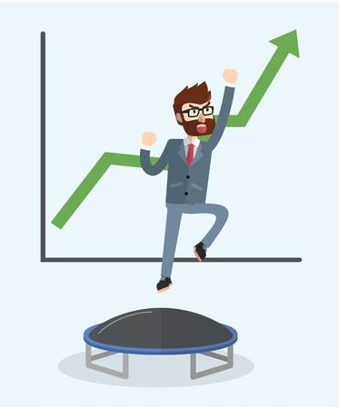 trampoline: Business man jumping trampoline