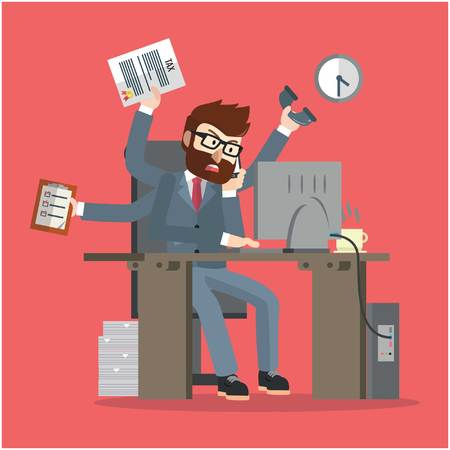 tasking: Business man multy tasking Illustration
