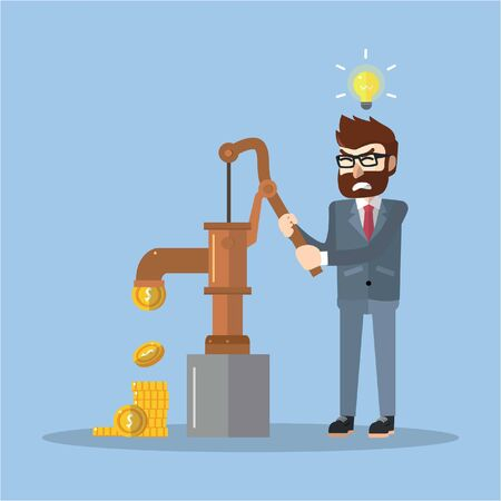 pumping: Business man pumping out money Illustration
