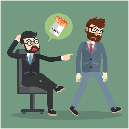 breaking the rules: Businessman fired contract Illustration