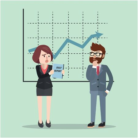 statistic: Business man and woman statistic plan Illustration