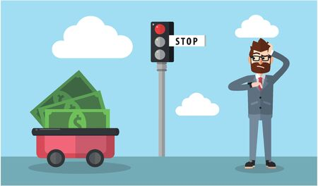 slow: Slow payment business man Illustration