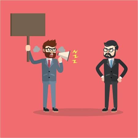 Geschäftsmann, der Chef protestieren