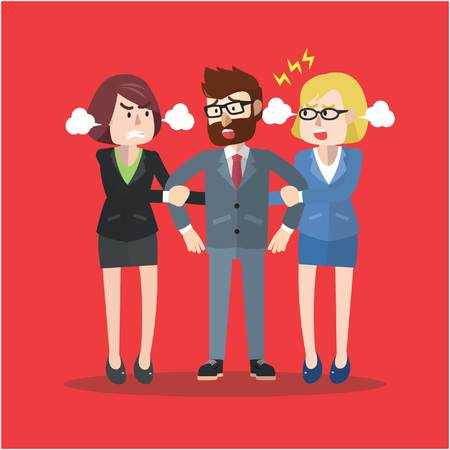bussiness man: Business man pulled by two business woman Illustration