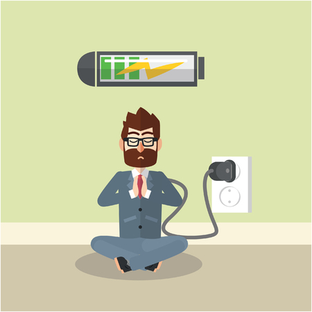 Business man charging his mind Illustration
