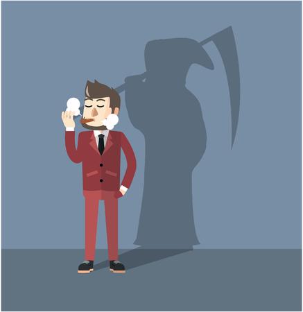 hombre fumando: hombre de negocios que fuma peligroso