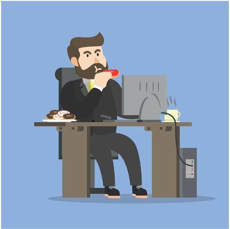 Uomo d'affari mangiare quando si lavora Archivio Fotografico - 56520615