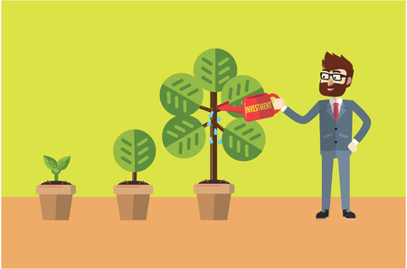 patience: Businessman watering his plant Illustration
