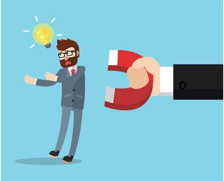 science symbols metaphors: business man magnetized Illustration