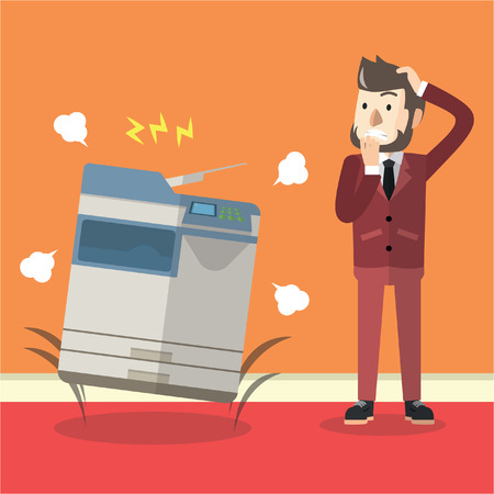 Bad photocopier machine Illustration
