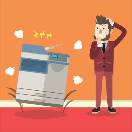 Bad photocopier machine Illustration