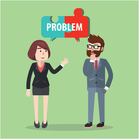 angry sky: Business man and woman solving problem