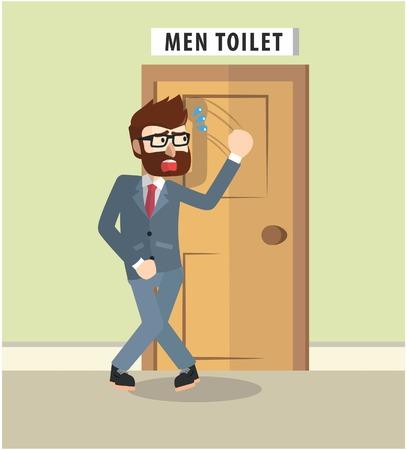 Business man wil naar de badkamer te gaan Stock Illustratie