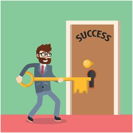 unlocking: Business man unlocking success door Illustration