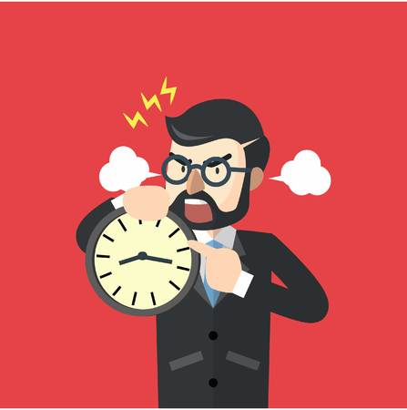 jefe enojado: Hombre de negocios enojado por hora Vectores