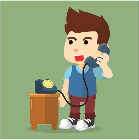 telephone: boy talking on telephone Illustration