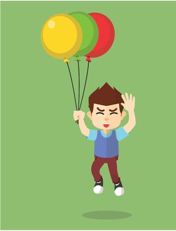 flaying: boy flaying with tree ballon Illustration
