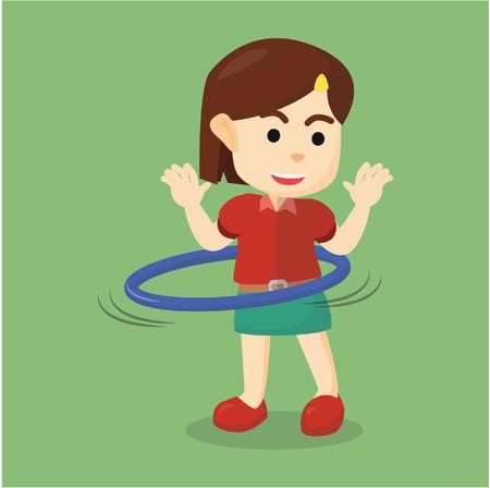 hula hoop: girl playing hula hoop Illustration