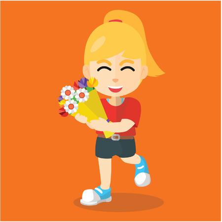bring: girl bring flower