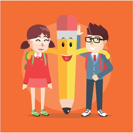 hand pencil: boy and girl with giant pencil Illustration